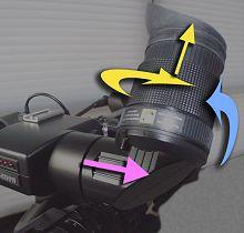 Eyepiece position adjustment controls.