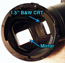 Eyepiece removed, detail of CRT and mirror assembly.