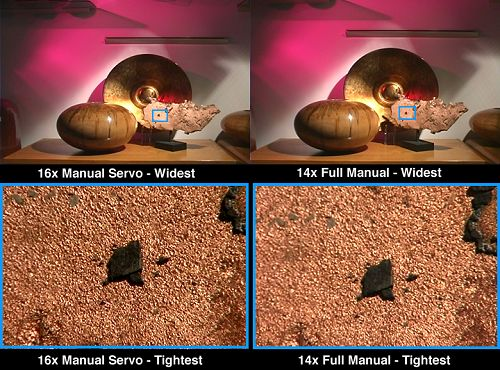 Comparative frame captures of the 16x Manual Servo and 14x Full Manual lenses