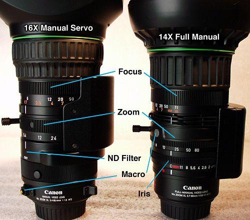 The 16x Manual Servo and 14x Full Manual lenses compared