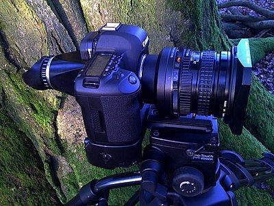 LENSES FOR STILLS & VIDEO an alternative view-pentax-67-45mm-canon-5d-mk2-vinten-tripod.jpg