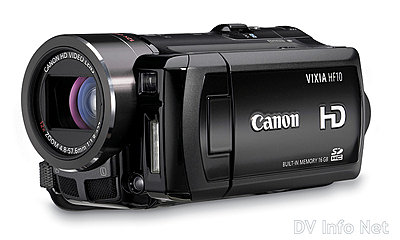 Canon VIXIA HF10 and HF100 flash memory HD cams-hf10oblique2.jpg