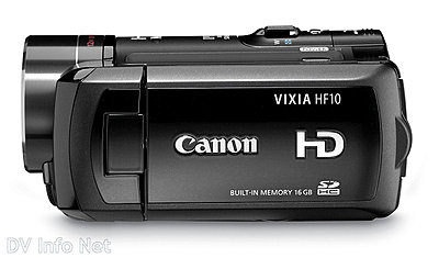 Canon VIXIA HF10 and HF100 flash memory HD cams-hf10side.jpg