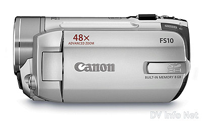Canon VIXIA HF10 and HF100 flash memory HD cams-fs10side.jpg