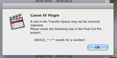 """Canon XF Plugin error: """"A clip in the transfer queue may not be correctly ingested""""-canon-xf-plugin-error.png"""