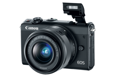 Canon New No4K E0S M100 Mirrorless Digital Camera-eos-m100-black-3q-flash-d.png