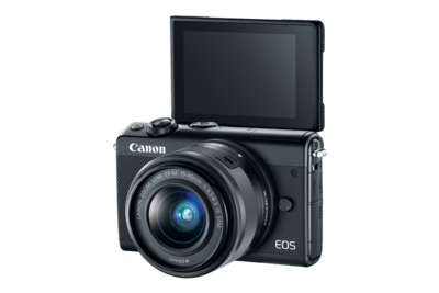 Canon New No4K E0S M100 Mirrorless Digital Camera-eos-m100-black-3q-lcd-open-d.png