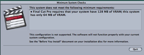 Any workarounds to install Final Cut Studio 3 on an 07