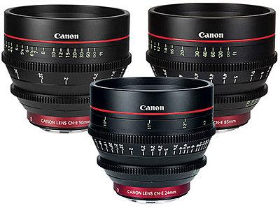 Canon Cinema Prime Set: 14mm, 24mm 35mm , 50mm, 85mm, & 135mm-canon-3-cinema-lenses-cn-e24-cn-e50-cn-e85-texas-media-systems.jpg