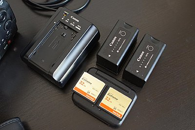 Canon C300 Cinema Camera Kit-canon-c300-batteries-cards.jpg