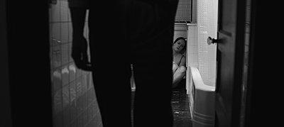"""grabs from """"Exhumed"""", indie B&W suspense/horror on Red-bathroom.jpg"""