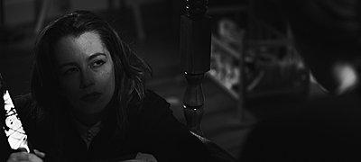"""grabs from """"Exhumed"""", indie B&W suspense/horror on Red-debbie-w-knife.jpg"""