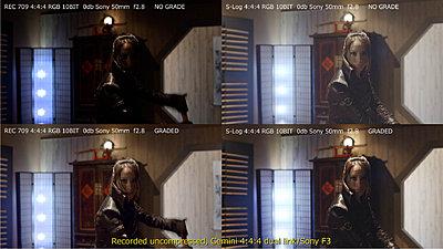 F3 RGB444 and S-LOG tests via GEMINI 4:4:4-f3_rec-709_vs_s-log_quad.jpg