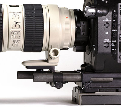 Westside A V 15mm cheese plate with many battery options added to kit.-fs7lenssupport1.jpg