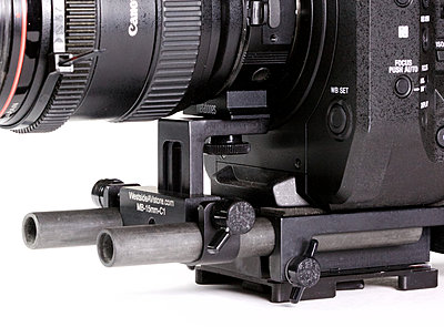 Westside A V 15mm cheese plate with many battery options added to kit.-fs7lenssupport7.jpg