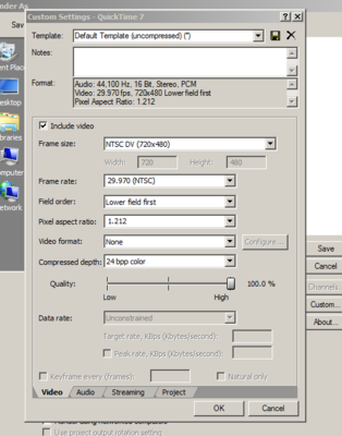 Need a .mov file, render settings-capture.png
