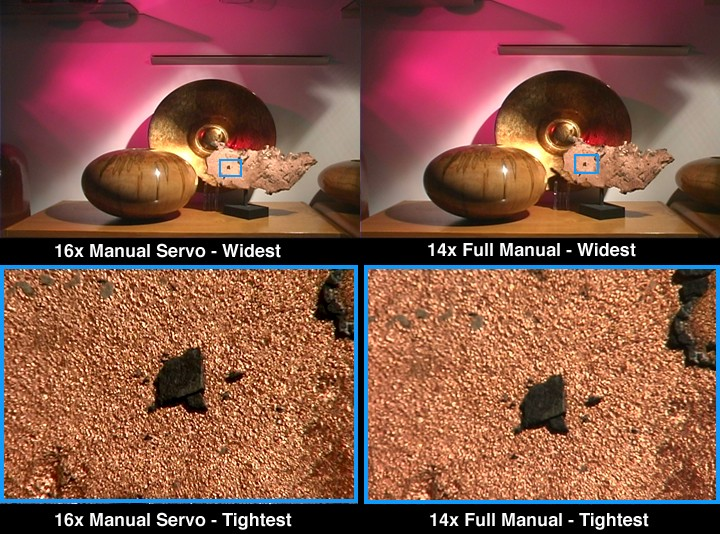 Comparative frame captures of the 16x Manual Servo and 14x Full Manual lenses.