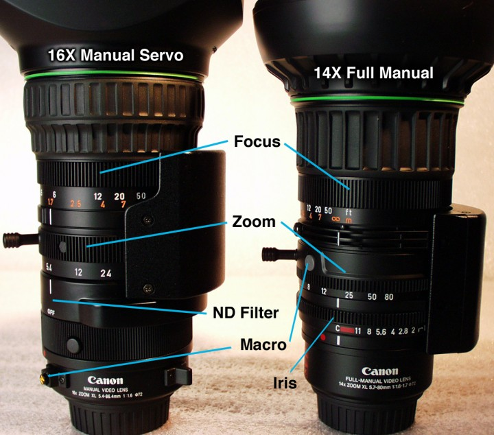The 16x Manual Servo and 14x Full Manual lenses compared.