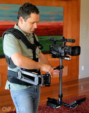 Charles Papert flies the Steadicam Pilot in the Missionary Position with a Canon XH A1.