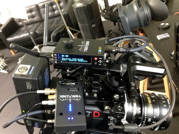 Teradek Cube and Bolt transmitters atop Videofax's Sony F55.