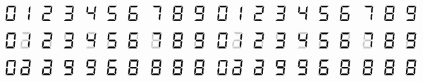 7-Segment digits: exposed as a whole frame, with a 70% / 30% overlap, and a 50% / 50% overlap.
