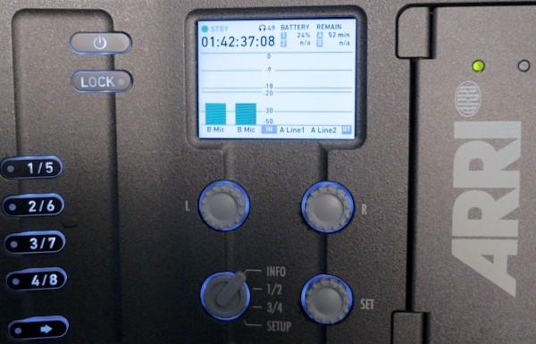 Operator-side menu panel and audio controls.