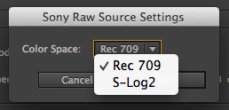 Sony RAW Source settings in AE