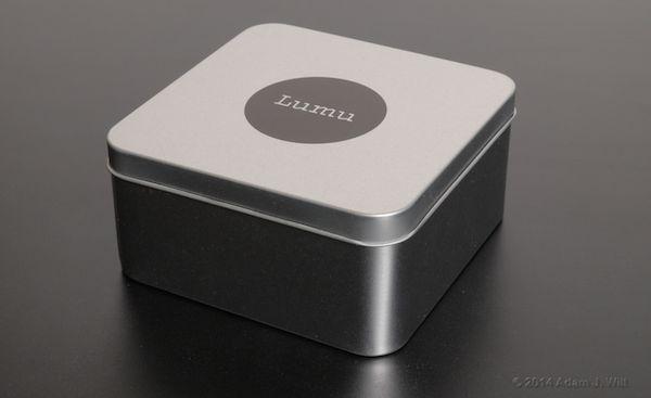 Lumu arrives in this elegant metal box