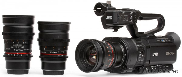 The JVC GY-LS300 with Rokinon lenses at DV Info Net