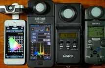 Four color meters: Lighting Passport, Sekonic C-700, Minolta Color Meter II, Sekonic C-500