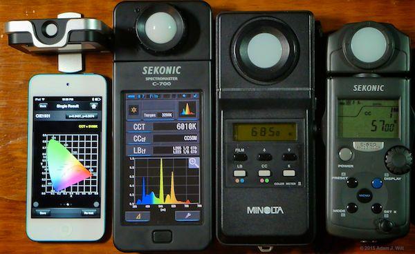 Four color meters: Lighting Passport, Sekonic C-700, Minolta Color Meter II, Sekonic C-500