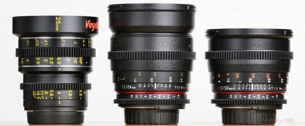 Veydra 25mm T2.2 (MFT); Rokinon 24mm T1.5 and 50mm T1.5 (Nikon F mount)
