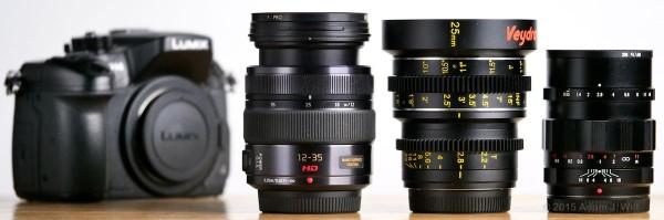 Three MFT lenses: Lumix 12-35mm f/2.8 zoomed to 25mm, Veydra 25mm T2.2, Nokton 25mm f/0.95