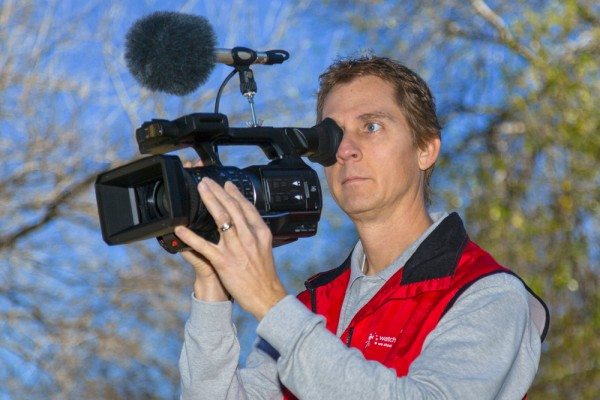 DVi member Tim Polster with the Panasonic AJ-PX270 P2 HD handheld camcorder.