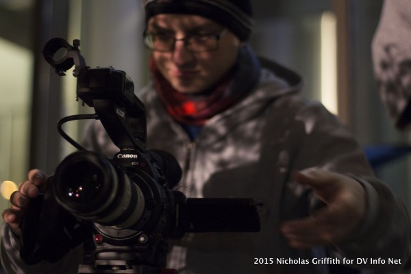 Marek Mlocek with the C100 Mark II and the 70-200mm outside the Belo building at UT-Austin.
