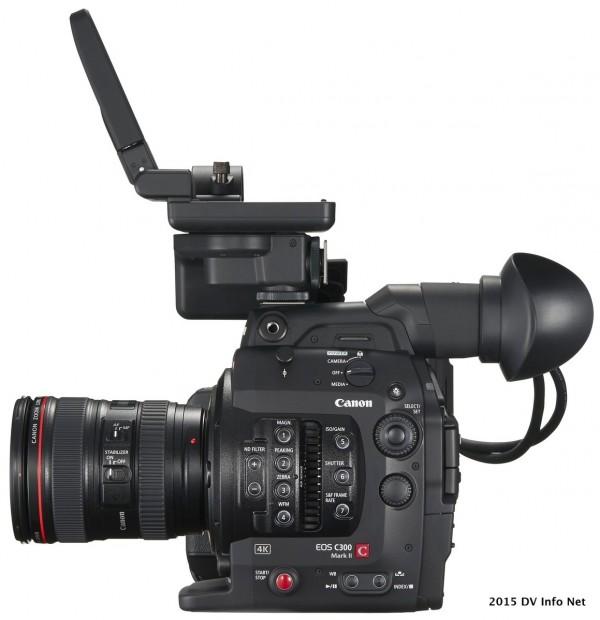 EOS C300 Mark II RIGHT 24-105 f4L LCD Monitor Up