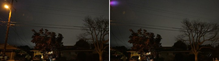 12:30am, ISO 3200, 1/15 sec, T2.2 handheld: panning just off the light triggers that beautiful flare.