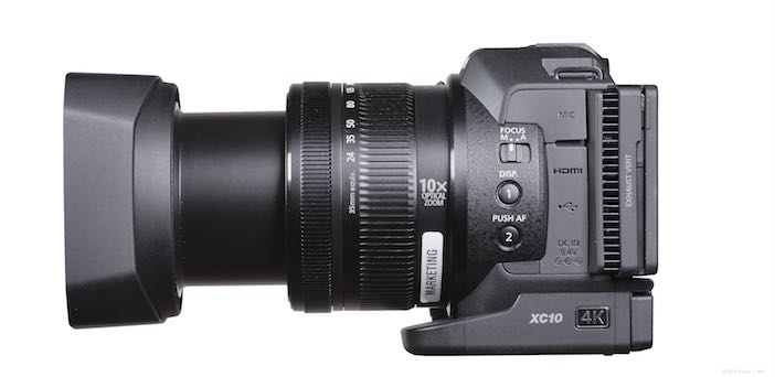 XC10 with lens shade; lens at full telephoto