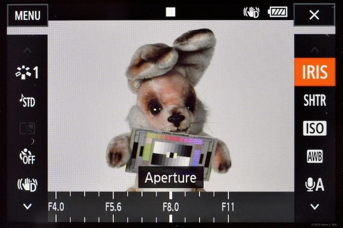 The FUNC. screen with IRIS selected