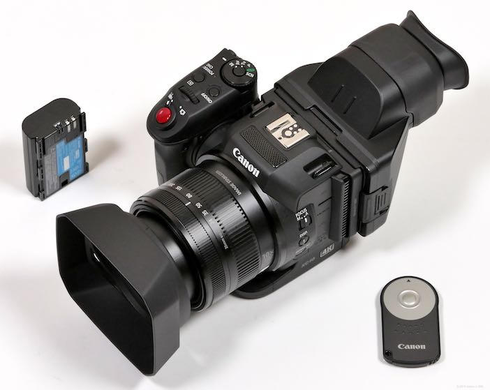 XC10 with its remote control and LP-E6N battery