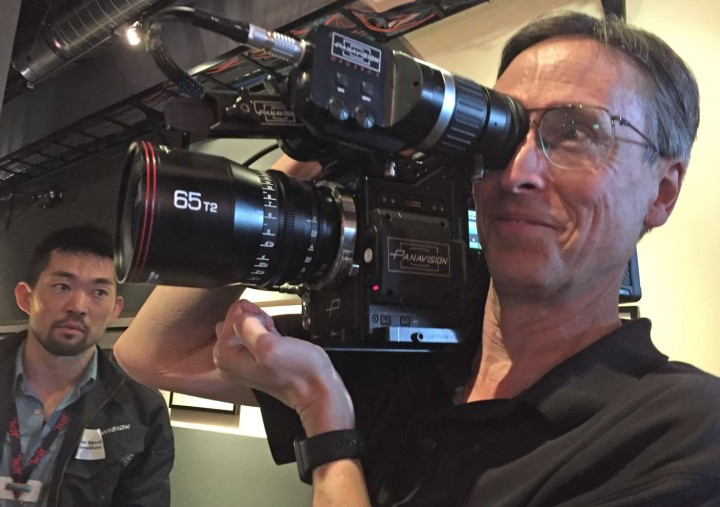 Your correspondent grinning like a fool, while a worried Panavision person watches