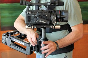 Charles Papert flies the Steadicam Pilot with a Canon XH A1.