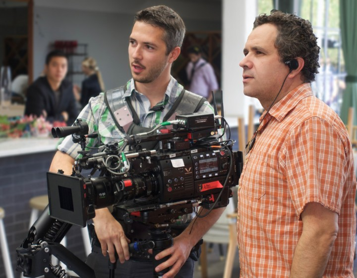 Charles on the right with Steadicam operator Neal Bryant on the set of Mary + Jane