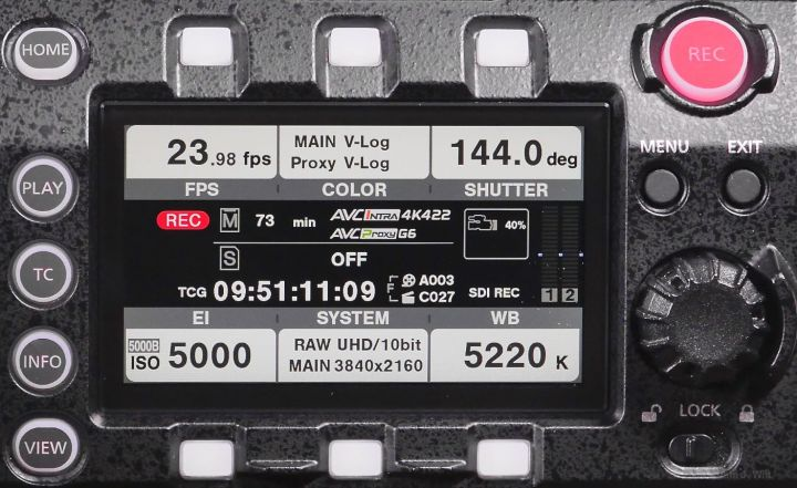 VariCam LT control panel, home screen