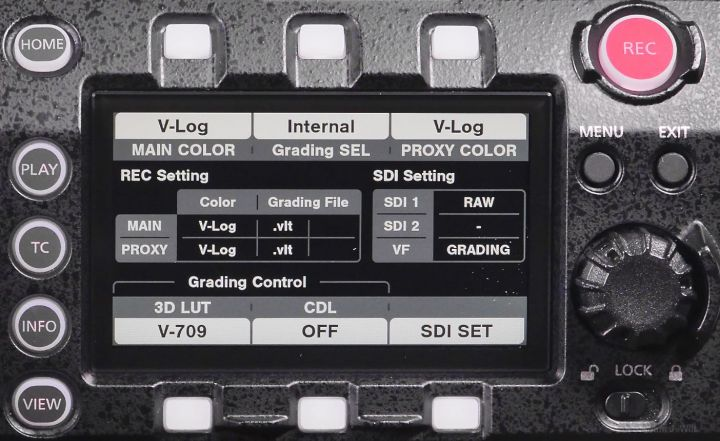 VariCam LT control panel, color page