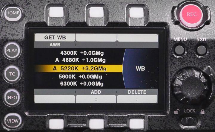 VariCam LT control panel, WB page