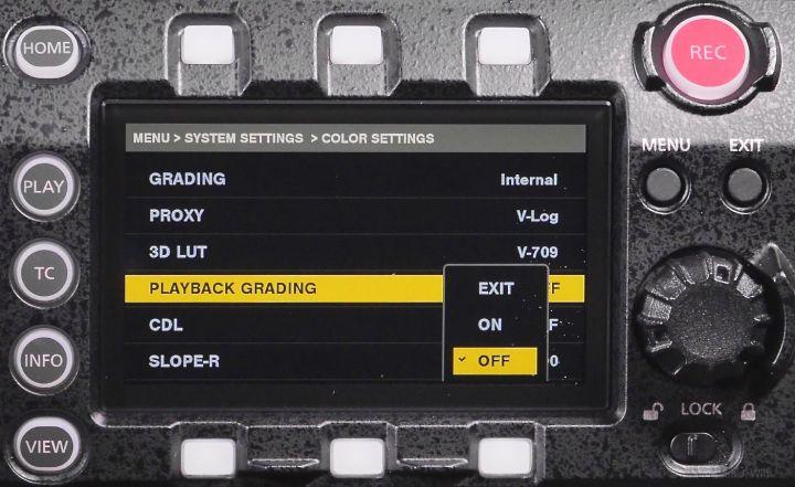 VariCam LT control panel, menus