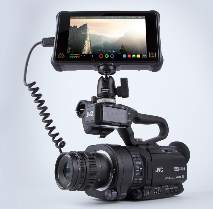 JVC GY-LS300CH with an Atomos Ninja Inferno monitor recorder.