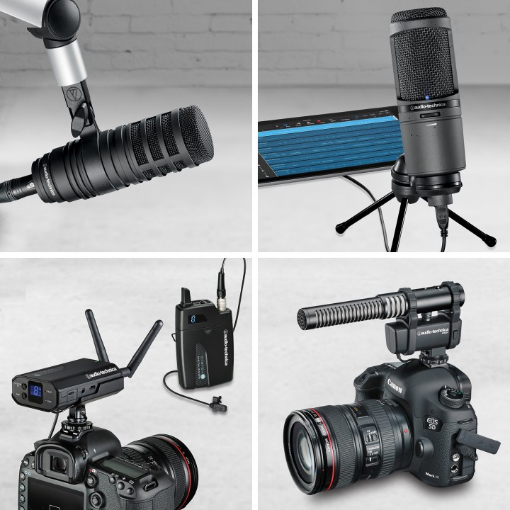 Left to right, top to bottom: Audio-Technica content production microphones: BP40 large-diaphragm dynamic, AT2020USBi cardioid condenser, System 10 Camera-Mount Wireless and AT8024 stereo/mono camera-mount.