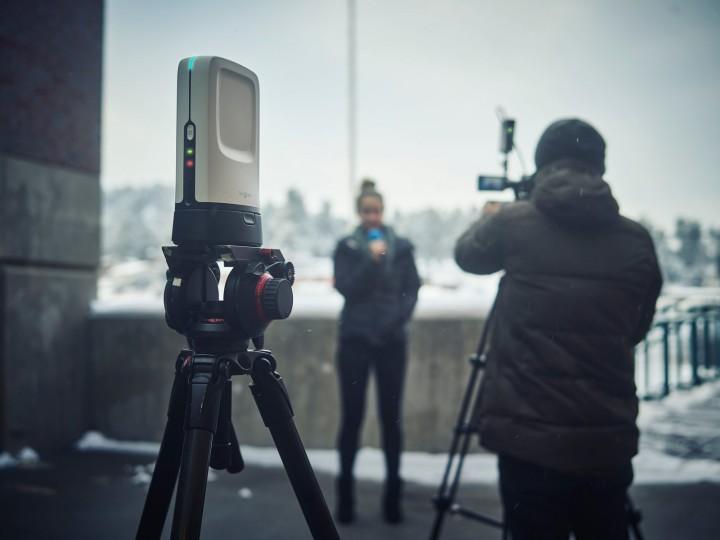 SlingStudio on scene with news crew